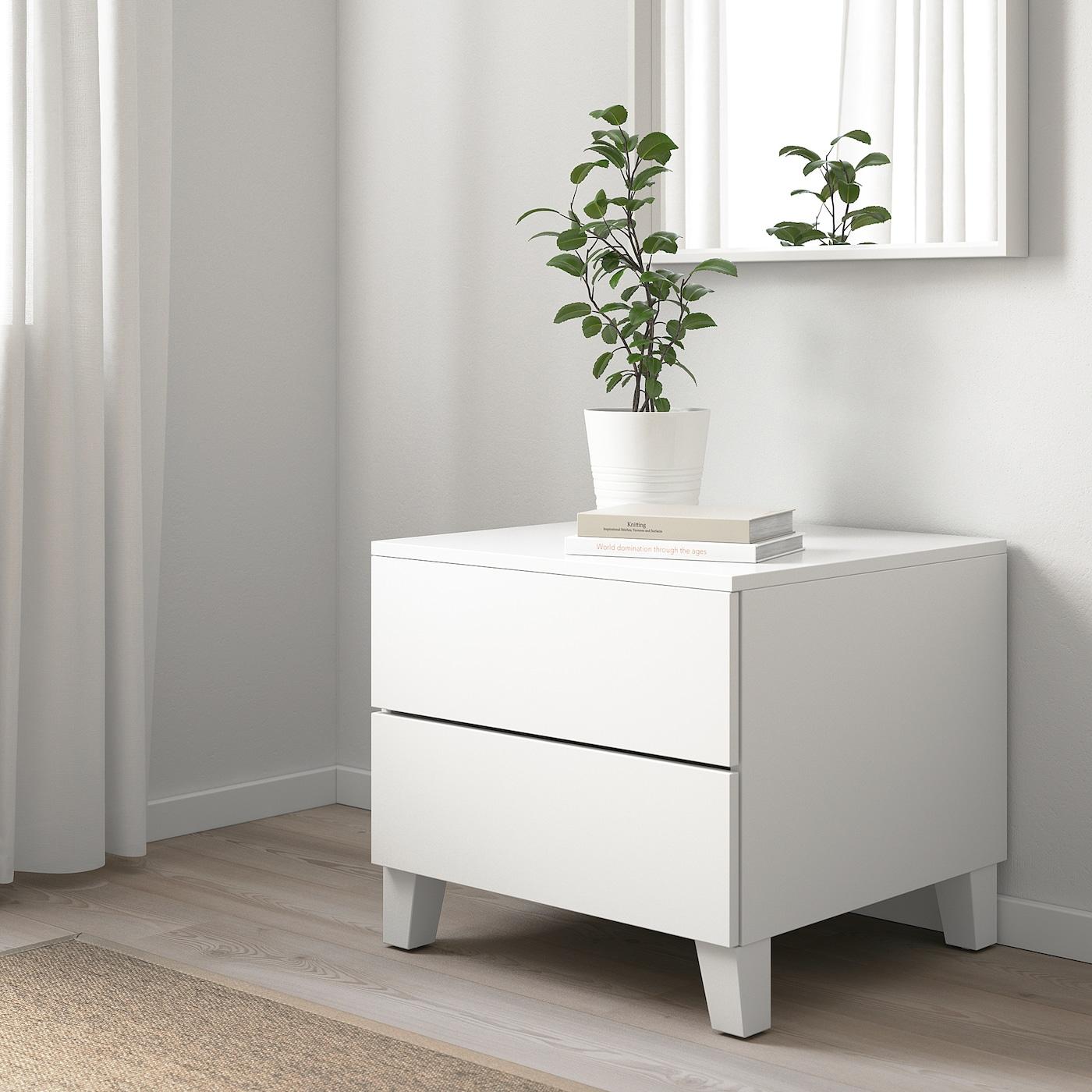 PLATSA Komoda s 2 zásuvkami, biela/Fonnes biela, 60x57x53 cm