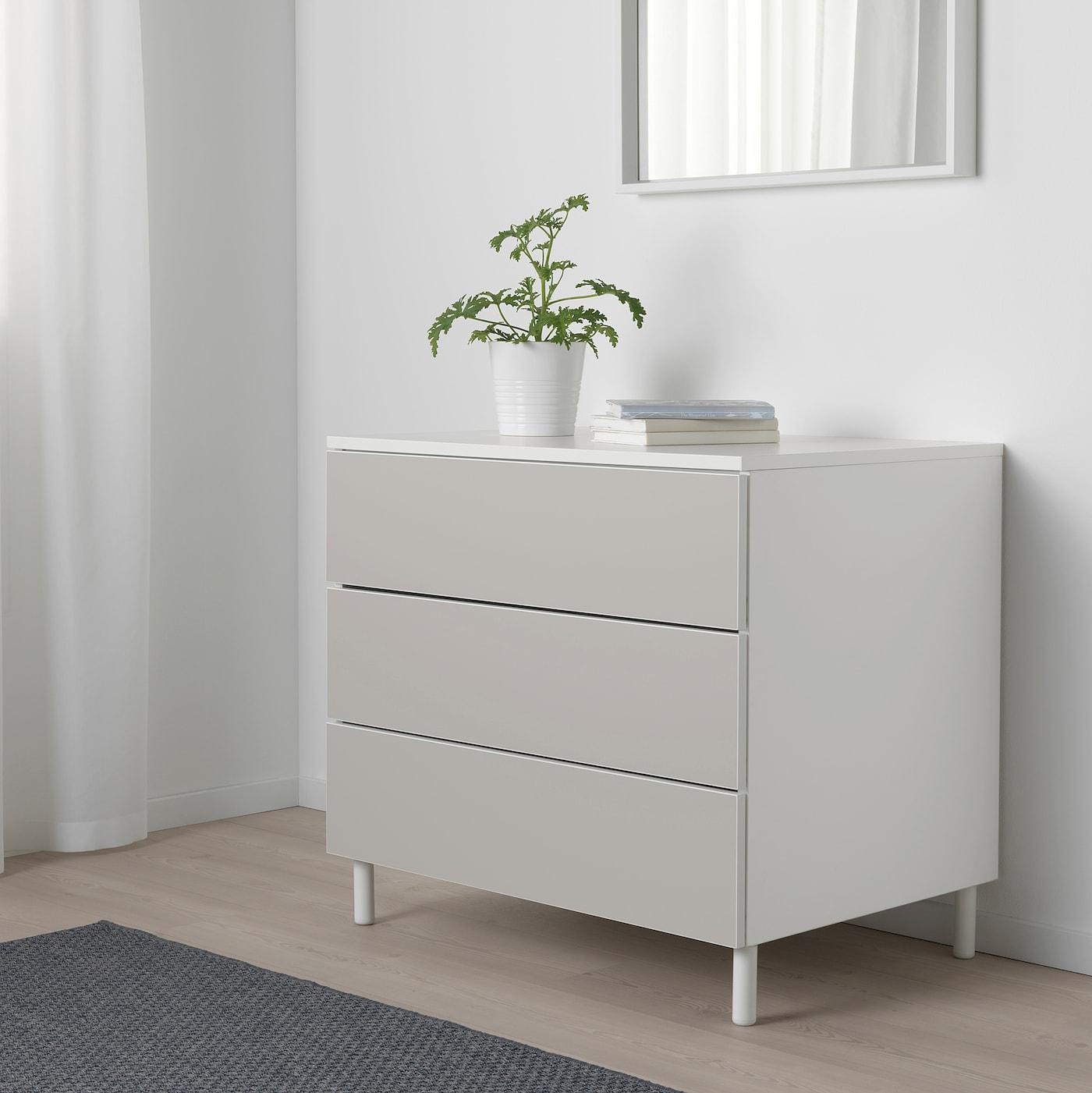 PLATSA Komoda s 3 zásuvkami, biela/Skatval svetlosivá, 80x57x73 cm