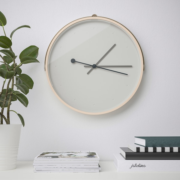 ROTBLÖTA Nástenné hodiny, jaseňová dyha/svetlosivá, 42 cm