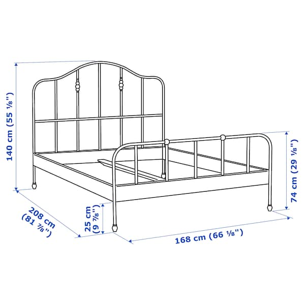 SAGSTUA Rám postele, čierna/Lönset, 160x200 cm