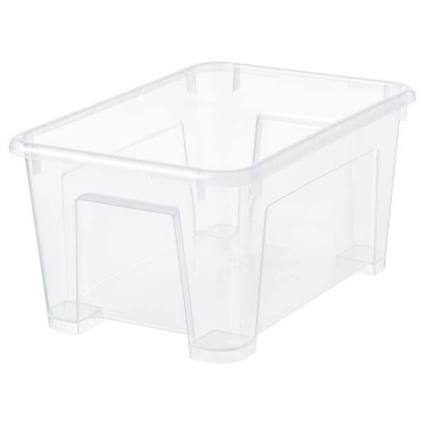 SAMLA Škatuľa, priehľadná, 28x19x14 cm/5 l