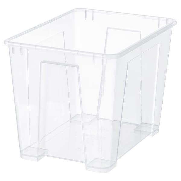 SAMLA Škatuľa, priehľadná, 39x28x28 cm/22 l