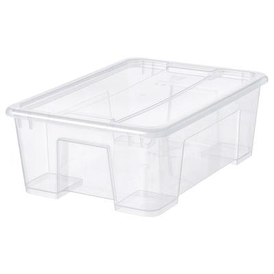 SAMLA Škatuľa s vrchnákom, priehľadná, 39x28x14 cm/11 l