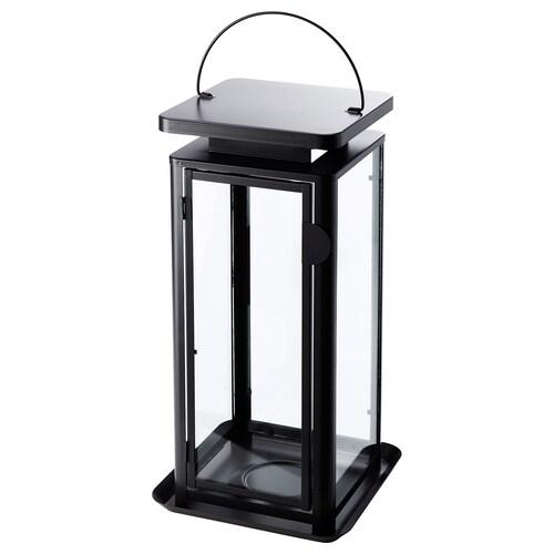 SINNESRO lampáš na sviečku, vnútor/vonk sivá 24 cm 45 cm