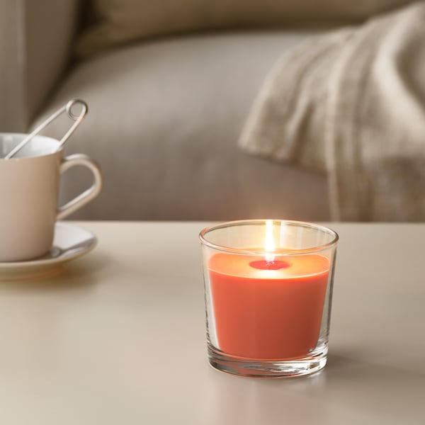 SINNLIG Vonná sviečka v skle, Broskyňa a pomaranč/oranžová, 9 cm