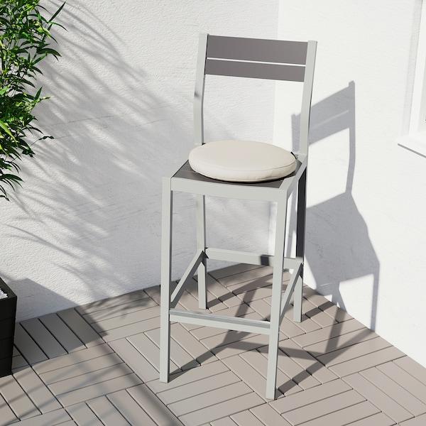 SJÄLLAND barová stolička s opierkou, vonkaj svetlosivá/tmavosivá 110 kg 40 cm 56 cm 110 cm 40 cm 39 cm 74 cm