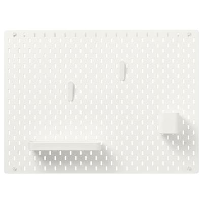 SKÅDIS Kombinácia s perforovaným panelom, biela, 76x56 cm