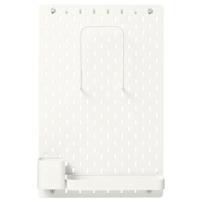 SKÅDIS Kombinácia s perforovaným panelom, biela, 36x56 cm