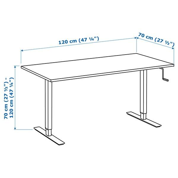SKARSTA stôl nastaviteľná výška biela 120 cm 70 cm 70 cm 120 cm 50 kg