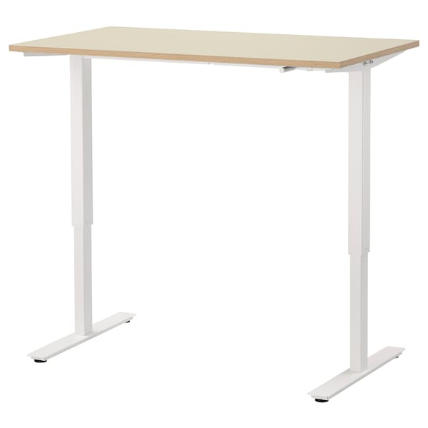 SKARSTA Stôl nastaviteľná výška, béžová/biela, 120x70 cm