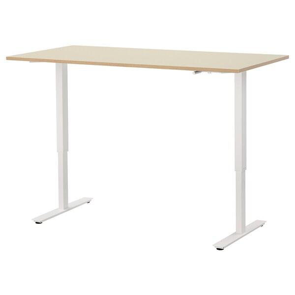 SKARSTA Stôl nastaviteľná výška, béžová/biela, 160x80 cm