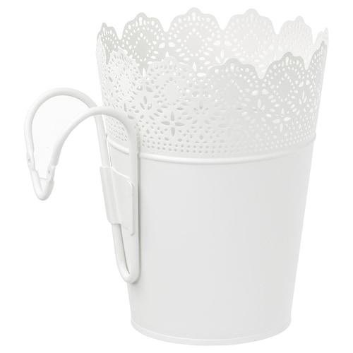 SKURAR kvetináč s držiakom na von/dnu/biela 22 cm 17 cm 15 cm