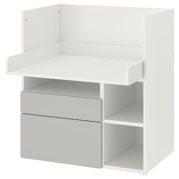SMÅSTAD Stôl, biela sivá/s 2 zásuvkami, 90x79x100 cm