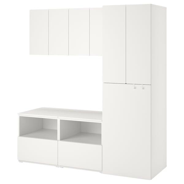 SMÅSTAD Úložná kombinácia, biela biela/s vyťahovaním, 180x57x196 cm