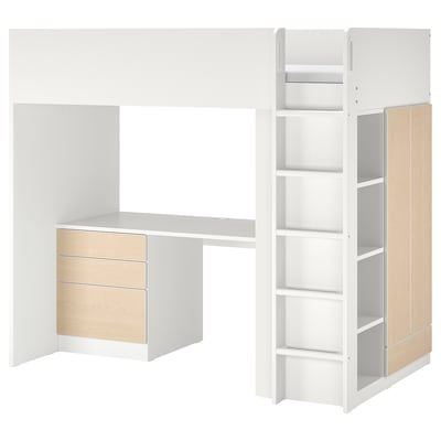 SMÅSTAD Vysoká posteľ, biela breza/so stolom s 4 zásuvkami, 90x200 cm