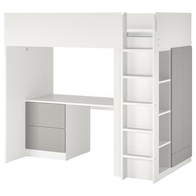 SMÅSTAD Vysoká posteľ, biela sivá/so stolom s 2 zásuvkami, 90x200 cm