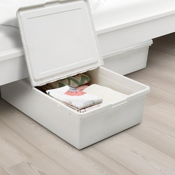 SOCKERBIT škatuľa s vrchnákom biela 77 cm 50 cm 19 cm 55 l
