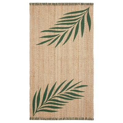 SOMMAR 2020 koberec, hladko tkaný zelená listy/prírodná 150 cm 80 cm 10 mm 1.20 m² 3000 g/m²