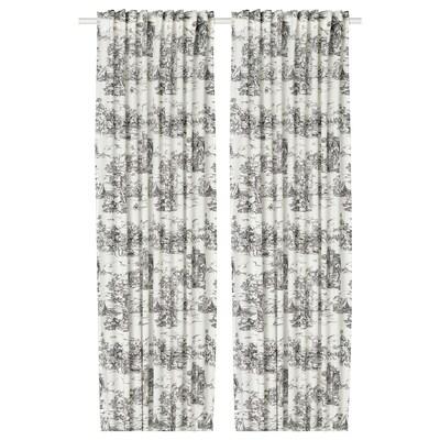 STJÄRNRAMS Závesy, 1 pár, biela/sivá, 145x300 cm