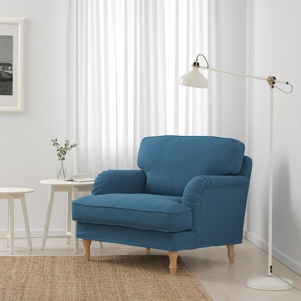 STOCKSUND kreslo Ljungen modrá/svetlohnedá/drevo 84 cm 73 cm 92 cm 97 cm 58 cm 46 cm