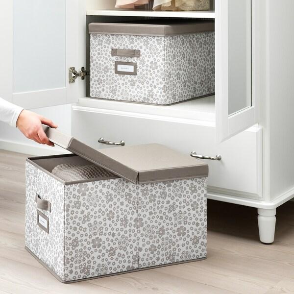 STORSTABBE škatuľa s vrchnákom béžová 35 cm 50 cm 30 cm