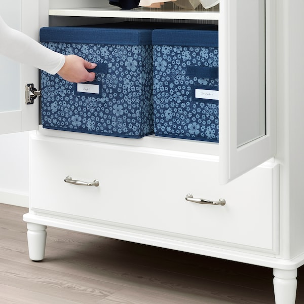STORSTABBE škatuľa s vrchnákom modrá/biela 35 cm 50 cm 30 cm