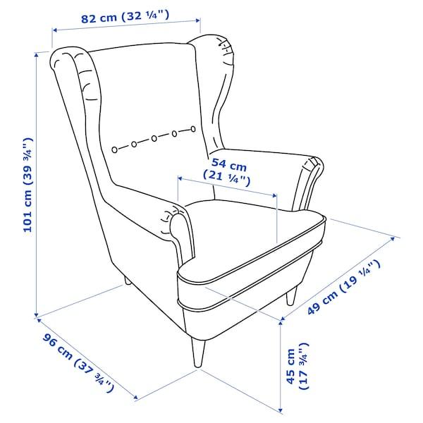 STRANDMON kreslo Vibberbo čierna/béžová 82 cm 96 cm 101 cm 49 cm 54 cm 45 cm