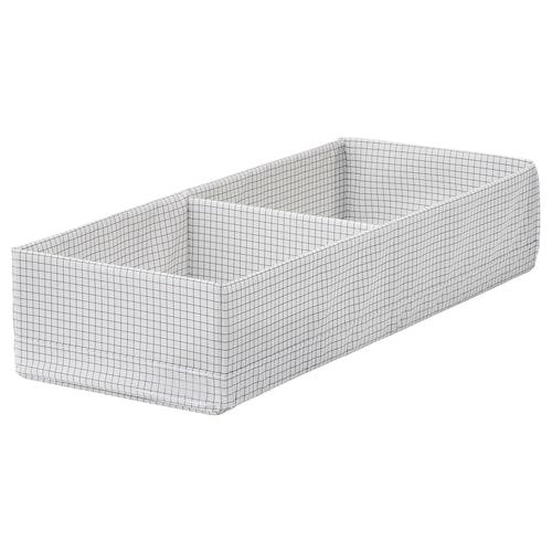 STUK škatuľa/priehradky biela/sivá 20 cm 51 cm 10 cm