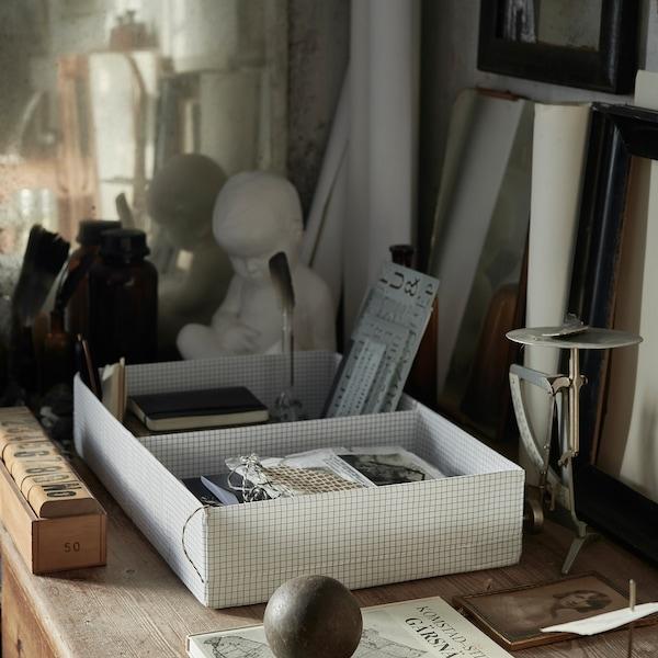 STUK škatuľa/priehradky biela/sivá 34 cm 51 cm 10 cm