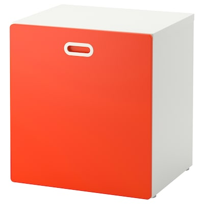 STUVA / FRITIDS Úložný priestor na hračky na kol, biela/červená, 60x50x64 cm