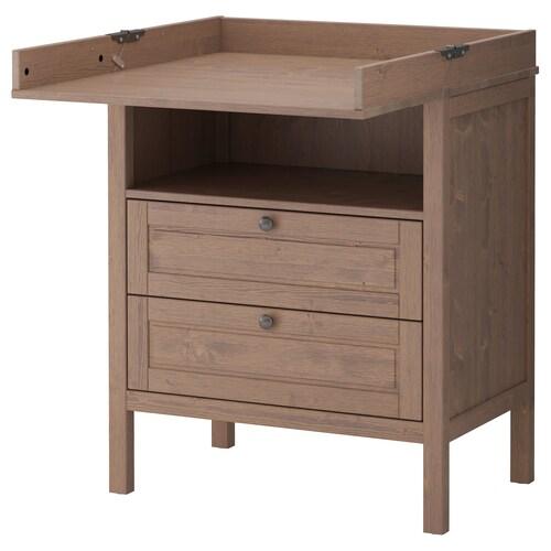 SUNDVIK prebaľovací stôl/komoda sivohnedá 79 cm 51 cm 87 cm 46 cm 99 cm 108 cm 18 cm 15 kg