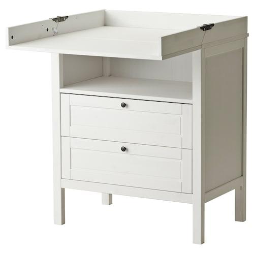 SUNDVIK prebaľovací stôl/komoda biela 79 cm 51 cm 87 cm 46 cm 99 cm 108 cm 18 cm 15 kg