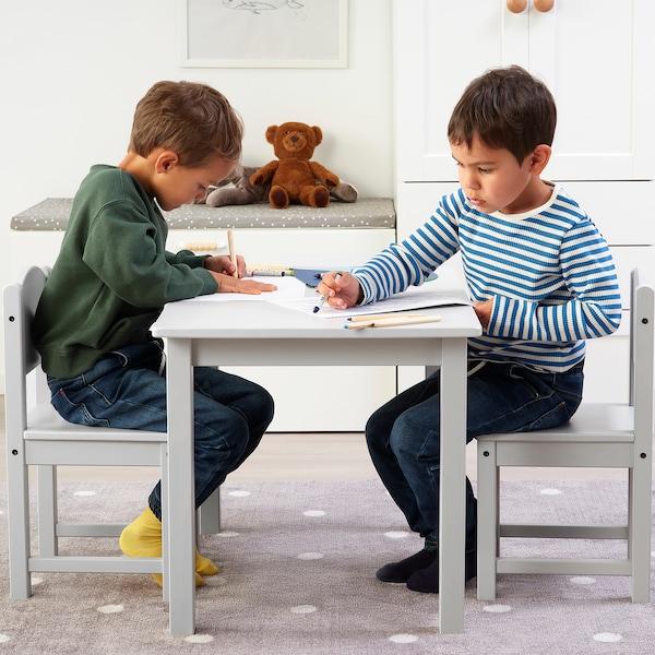 SUNDVIK Detský stolík, sivá, 76x50 cm