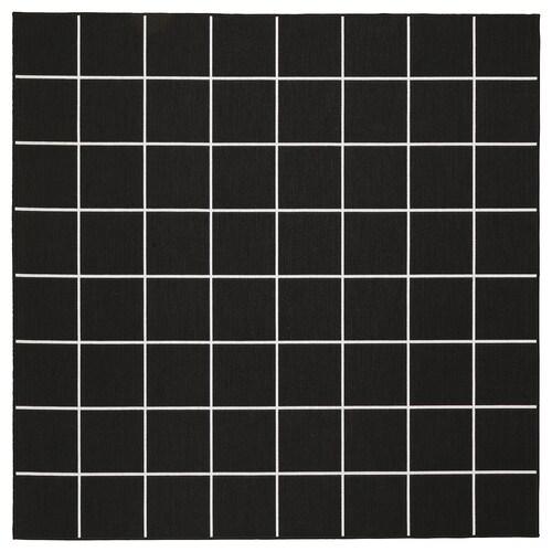 SVALLERUP koberec, hladko tkaný, vnút/vonk čierna/biela 200 cm 200 cm 5 mm 4.00 m² 1555 g/m²