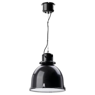 SVARTNORA Závesná lampa, čierna, 38 cm