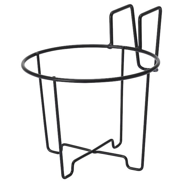 SVARTPEPPAR Držiak na kvetináč, na von/dnu čierna, 16 cm