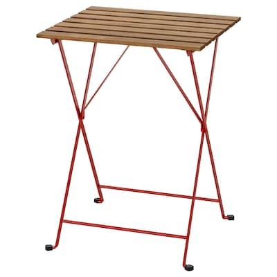 TÄRNÖ Stôl vonkaj, červená/morená svetlohnedá, 55x54 cm