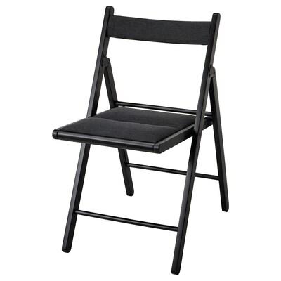 TERJE Skladacia stolička, čierna/Knisa tmavosivá