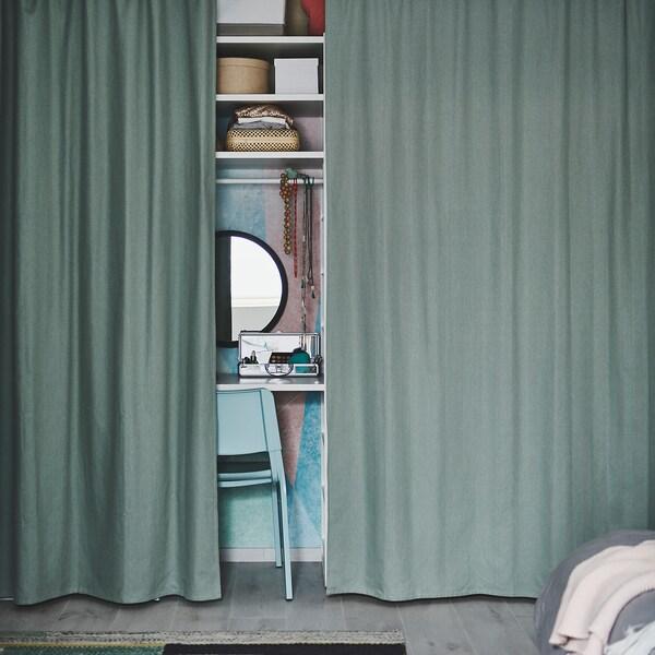 TIBAST Závesy, 1 pár, zelená, 145x300 cm