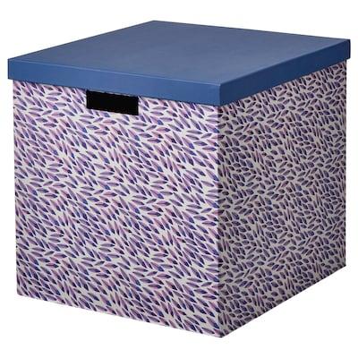 TJENA škatuľa s vrchnákom modrá/fialová/vzorovaný 35 cm 32 cm 32 cm
