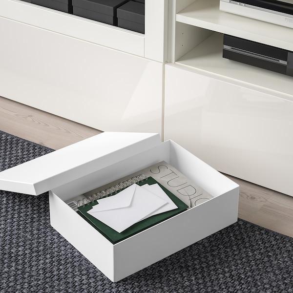 TJENA škatuľa s vrchnákom biela 35 cm 25 cm 10 cm