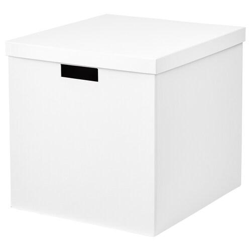 TJENA škatuľa s vrchnákom biela 35 cm 32 cm 32 cm