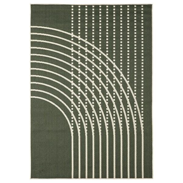 TÖMMERBY Koberec, hladko tkaný, vnút/vonk, tmavozelená/krémová, 160x230 cm