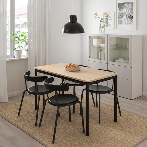 TOMMARYD Stôl, bielo morená dub dyha/antracit, 130x70 cm