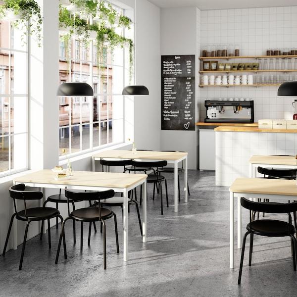 TOMMARYD Stôl, bielo morená dub dyha/biela, 130x70 cm