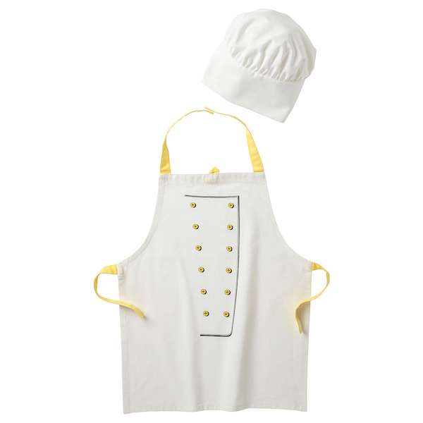 TOPPKLOCKA detská zástera+kuchárska čiapka biela/žltá 57 cm