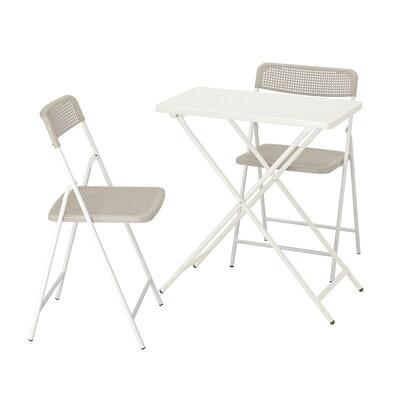 TORPARÖ Stôl a 2 skladacie stoličky, ext., biela/béžová, 70x42 cm