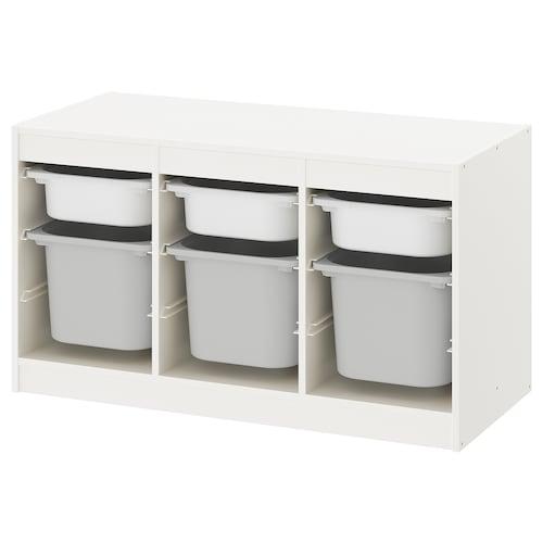TROFAST Úložná kombinácia so škatuľami biela/sivá 99 cm 44 cm 56 cm
