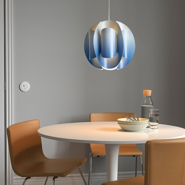 TRUBBNATE Tienidlo na závesnú lampu, biela/modrá, 38 cm