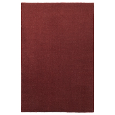 TYVELSE Koberec, nízky vlas, tmavočervená, 200x300 cm